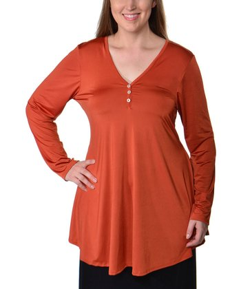 Rust V-Neck Henley - Plus