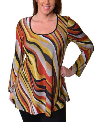 Yellow & Rust Abstract Scoop Neck Top - Plus