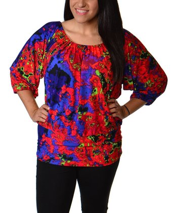 Red & Purple Floral Scoop Neck Top - Plus