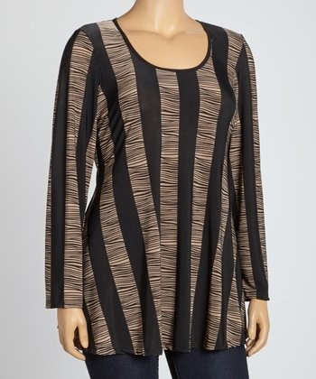 Black & Brown Abstract Stripe Scoop Neck Top - Plus