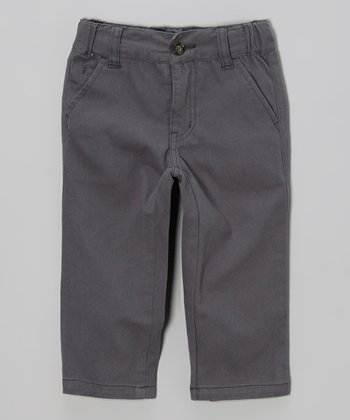 Gray Basic Twill Pants - Infant & Toddler