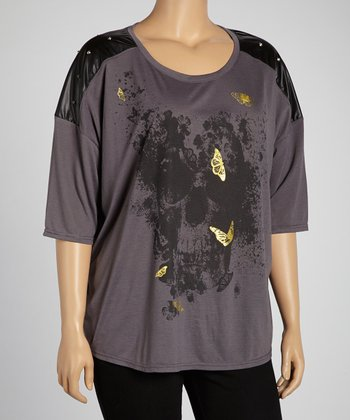 Charcoal Studded Butterfly Drop-Shoulder Top