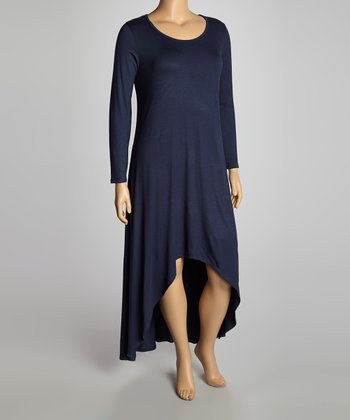 Navy Hi-Low Maxi Dress - Plus