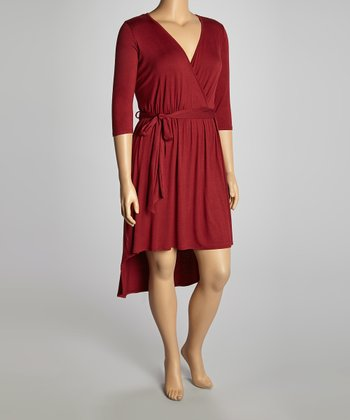 Wine Surplice Hi-Low Dress - Plus