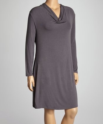 Dark Gray Cowl Neck Dress - Plus