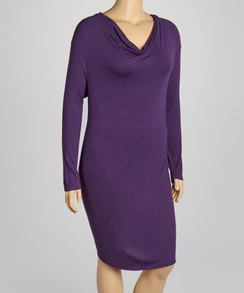 Eggplant Cowl Neck Dress - Plus