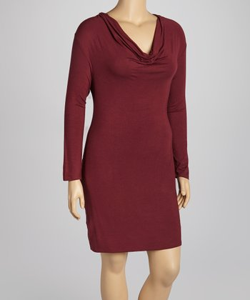 Wine Cowl Neck Dress - Plus