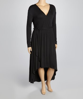 Black Split V-Neck Belted Maxi Dress - Plus