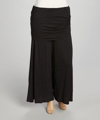 Black Layered Palazzo Pants - Plus