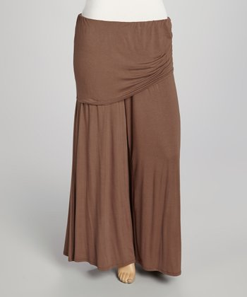Brown Layered Palazzo Pants - Plus