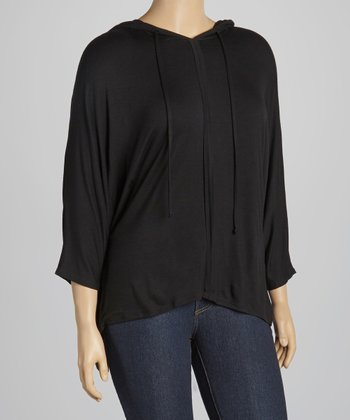 Black Hooded Dolman Top - Plus