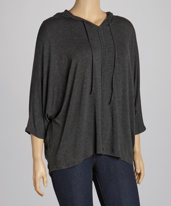 Charcoal Hooded Dolman Top - Plus