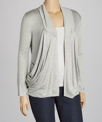 Heather Gray Draped Open Cardigan - Plus