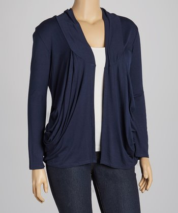 Navy Draped Open Cardigan - Plus