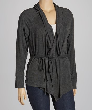Charcoal Lapel-Front Cardigan - Plus