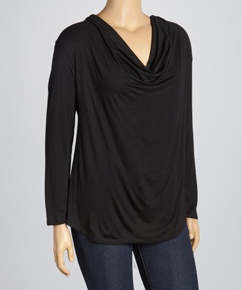 Black Cowl Neck Top - Plus