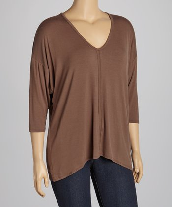 Dark Taupe V-Neck Dolman Top - Plus