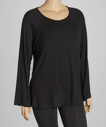 Black Crewneck Top - Plus