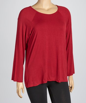 Burgundy Crewneck Top - Plus