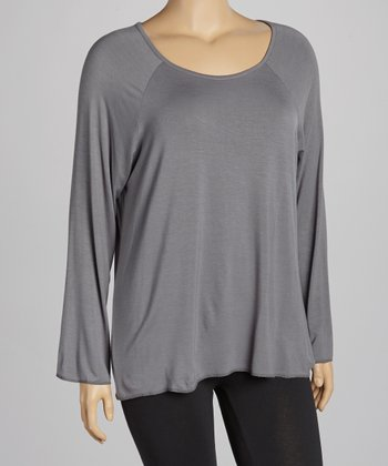 Dark Gray Crewneck Top - Plus