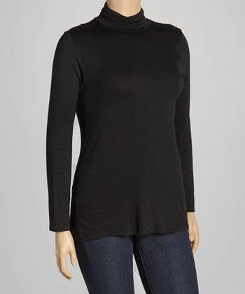 Black Turtleneck Top - Plus
