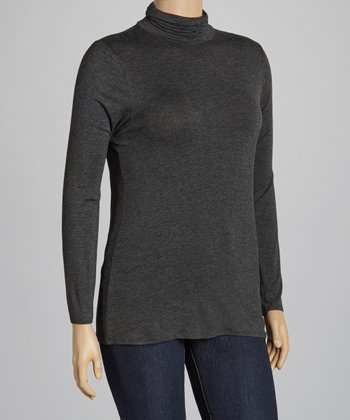 Charcoal Turtleneck Top - Plus