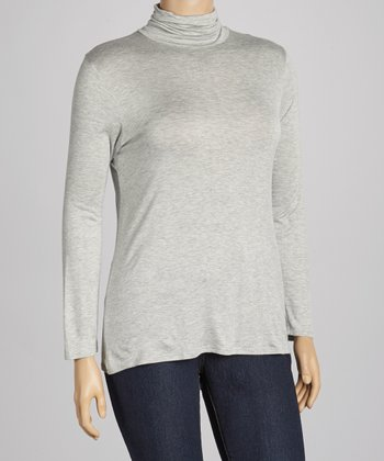 Heather Gray Turtleneck Top - Plus