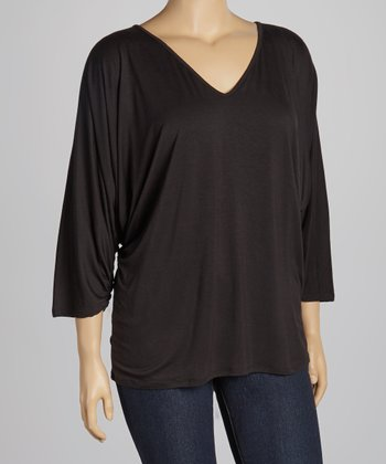 Black V-Neck Top - Plus