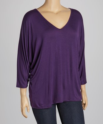 Eggplant V-Neck Top - Plus