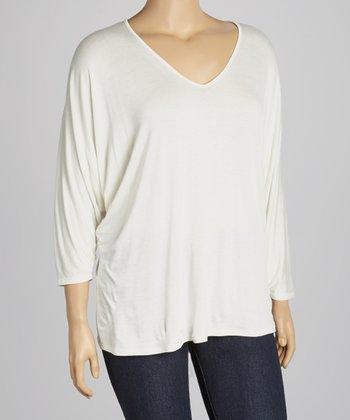Ivory V-Neck Top - Plus