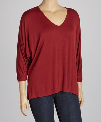 Wine V-Neck Top - Plus