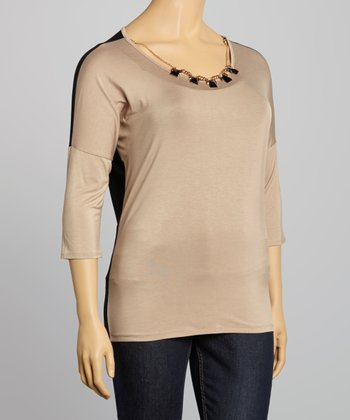 Beige Color Block Top & Necklace - Plus