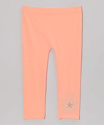 Melon Rhinestone Star Leggings - Girls