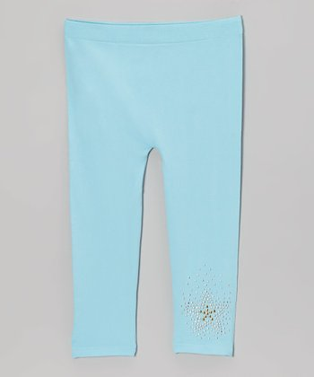 Aqua Rhinestone Star Leggings - Girls