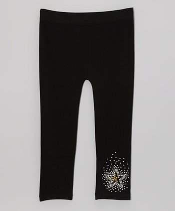 Black Rhinestone Star Leggings - Girls