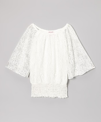 White Lace Shirred Top - Girls
