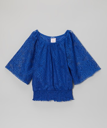Royal Blue Lace Gathered Top - Girls