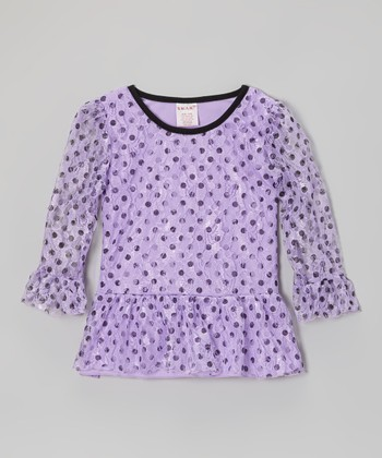 Lilac Polka Dot Lace Peplum Top - Girls