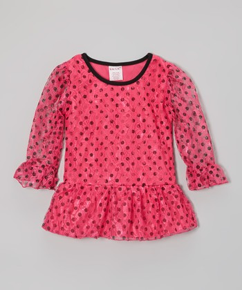 Fuchsia Polka Dot Lace Peplum Top - Girls