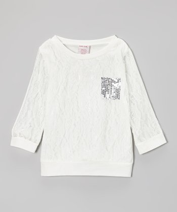 White & Silver Sequin Pocket Lace Top - Girls