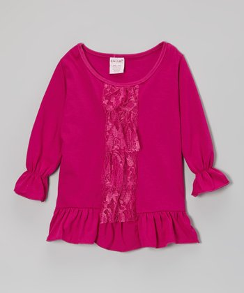 Berry Lace Ruffle Tunic - Girls