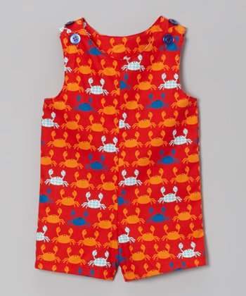 Orange Crab Shortalls - Infant