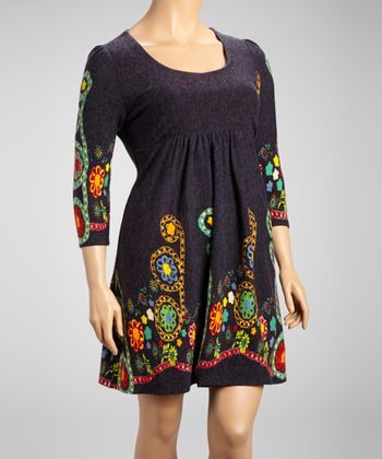 Navy Flower Embroidery Three-Quarter Sleeve Dress - Plus