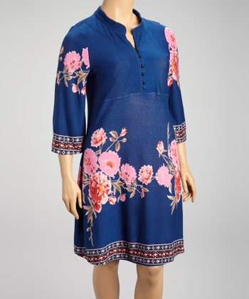 Blue & Pink Flower Button-Up Dress - Plus
