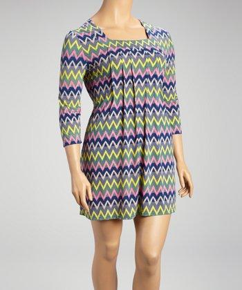 Reborn Collection Gray & Pink Sharp Zigzag Shift Dress - Plus