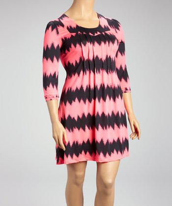 Reborn Collection Pink Fuzzy Zigzag Shift Dress - Plus