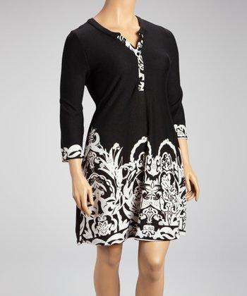 Reborn Collection Black Floral Shift Dress - Plus