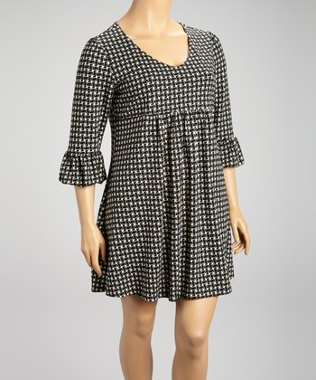Black Weave Three-Quarter Sleeve Dress - Plus