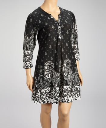Black Paisley Shift Dress - Plus