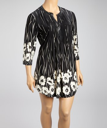 Black Streaming Floral Shift Dress - Plus